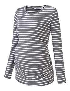 Coolmee Maternity Shirt Side Button and Ruched Maternity Tunic Tops Maternity Long Sleeve T-Shirt T-Shirts (L,Gray/White-Long)
