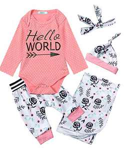 Dramiposs Newborn Hello World Outfit Floral Long Sleeve Bodysuit with Blanket (Pink01, 3-6 Months)