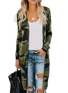 Chase Secret Womens Long Sleeve Camo Print Lightweight Knit Ribbed Cardigans Outwear Jackets S Green