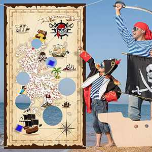 Pirate Bean Bag Toss Game for Kids, Pirate Banner with 3 Bean Bags for Kids Pirate Theme Party Decorations and Supplies