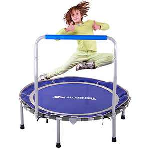 """JIKE SLIDE 36"""" Folding Mini Trampoline,Safety Padded Cover with Foam Handle, Play Exercise Bounce for 3-14 Years Kids Toddler Indoor Max Load 150lb"""