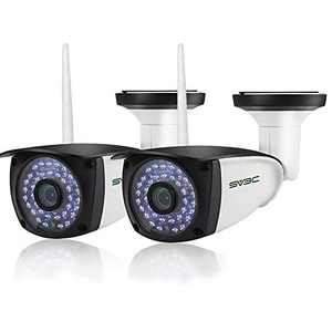 [New 2 Pack] WiFi Camera Outdoor, SV3C 1080P HD Two Way Audio Security IP Cameras, Motion Detection Surveillance Camera, IR LED Night Vision CCTV Cameras for Indoor Outdoor, Support Max 128GB SD Card