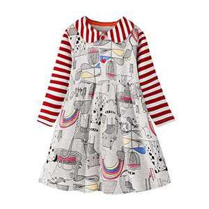 WRHPZW Little Girls Cotton Casual Cartoon Print Long Sleeve Skirt Dresses
