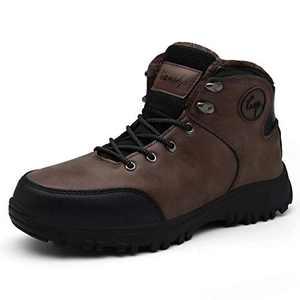 Lianshp Men's Warm Winter Snow Boots Water Resistant Warm Fur,Outdoor Anti-Slip Shoes,Shoe Lace Hook,Dark Brown 42