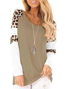 Topstype Womens Leopard Print Tops Color Block Long Sleeve Crew Neck Sweatshirts Casual Blouses Cheetah Print Shirts Khaki