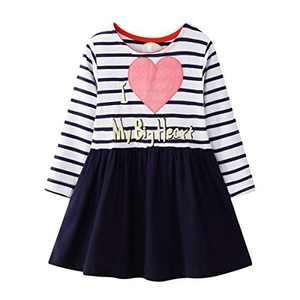 WRHPZW Toddler Girls Casual Dress Cotton Long Sleeve Warm Christmas Basic Party Shirt Tunic Dress