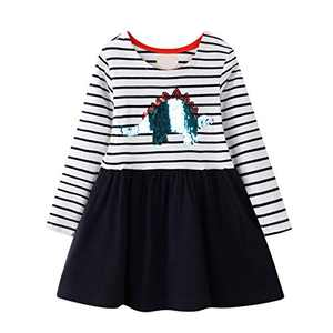WRHPZW Toddler Girls Cotton Longsleeve Casual Dresses Applique Cartoon