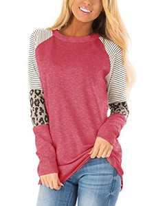 MODNTOGA Women's Cotton Knitted Leopard Color Block Long Sleeve Lightweight Stripe Round Neck Sweatshirt Tunic Tops Pink Red