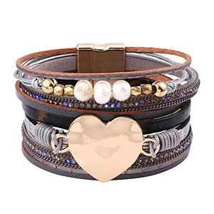 Leather Magnetic Clasp Bracelet for Women - Genuine Wrap Leather Bohemian Jewelry Pearl Wrap Bracelets for Women Girls, Handmade Heart Charm Leather Cuff Bracelets Boho Jewelry for Women Girls Teen