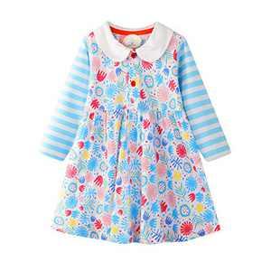 Toddler Girl Casual Dress Stripe Long Sleeve Autumn Winter Cotton Basic Shirt Christmas Dress