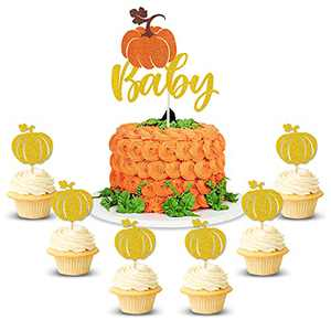 21pcs Pumpkin Baby Cake Cupcake Topper Baby Shower Fall Theme Party Decorations Gender Reveal Supplies