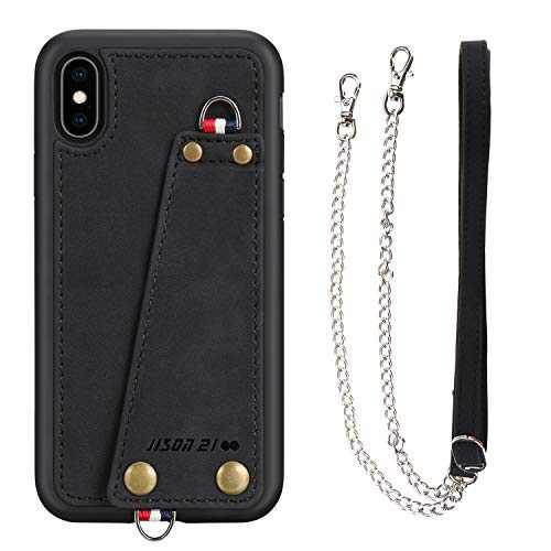 """JISON21 iPhone Xs/X Crossbody Case, iPhone Xs/X Wallet Case with Credit Card Holder, Protective Leather Case Cover with Cross Body Chain and Wrist Strap for Apple iPhone Xs/X 5.8"""",2018 (Black)"""
