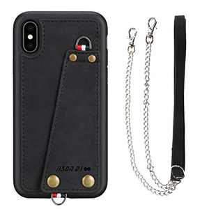 "JISON21 iPhone Xs/X Crossbody Case, iPhone Xs/X Wallet Case with Credit Card Holder, Protective Leather Case Cover with Cross Body Chain and Wrist Strap for Apple iPhone Xs/X 5.8"",2018 (Black)"