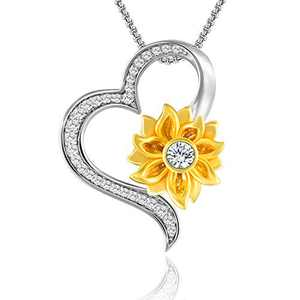 SNZM Heart Necklace for Women-You are My Sunshine Sunflower Pendant Necklace Christmas Jewelry Gifts for Mother Grandma