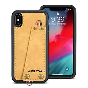 "JISON21 iPhone Xs X case with Lanyard, iPhone Xs X Case Crossbody Chain with Credit Card Holder Slot Adjustable Detachable Strap Leather Case for Apple iPhone Xs 5.8"",2018 (Yellow)"