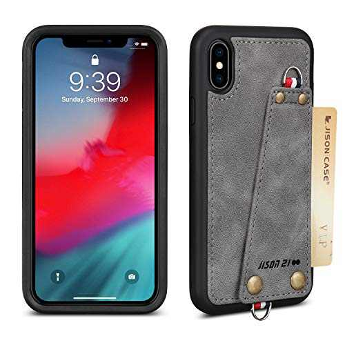 """JISON21 iPhone Xs/X Crossbody Case, iPhone Xs/X Wallet Case with Credit Card Holder, Protective Leather Case Cover with Cross Body Chain and Wrist Strap for Apple iPhone Xs/X 5.8"""",2018 (Gray)"""