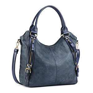 Plambag Women Tote Bag Handbags Hobo Shoulder Bag Faux Leather Purse Blue