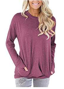 ONLYSHE Wine Red Soft Comfy Tees for Women Round Neck Long Sleeve Pullover Tops