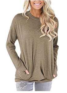 ONLYSHE Women's Casual Long Sleeve Tops Round Neck Pocket Sweatshirts Khaki M