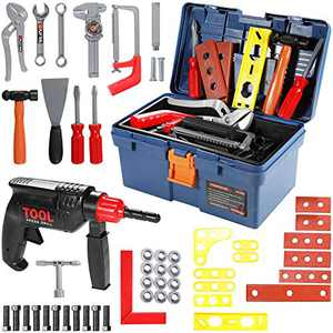 Geyiie Kids Toy Tool Set, 52 PCS Durable Tool Set Toys with Electronic Cordless Drill, Other Pretend Play Construction Accessories, A Sturdy Case for Age 3+ Toddlers Practical Ability