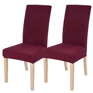 Dining Chairs Cover Removable Washable Chair Covers Protector for Home Hotel Dining Room Ceremony Banquet Wedding Party Restaurant High Back Chair Slipcovers Set 2 Pack Wine Red
