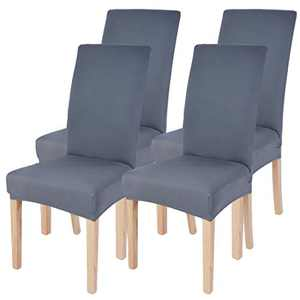 Dining Room Chairs Cover Removable Washable Chair Covers Protector for Home Hotel Dining Room Ceremony Banquet Wedding Party Restaurant High Back Chair Slipcovers Set 4 Pack Grey