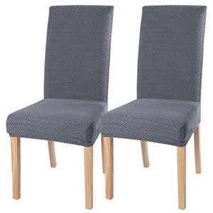 Stretch Dinging Chair Slipcovers, Removable Chair Slipcovers Washable Chair Covers for Home Hotel Dining Room Ceremony Banquet Wedding Party Restaurant 2 Pack Grey B