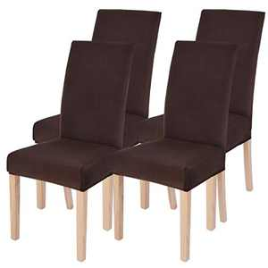 Dining Chairs Cover Removable Washable Chair Covers Protector for Home Hotel Dining Room Ceremony Banquet Wedding Party Restaurant High Back Chair Slipcovers Set 4 Pack Brown