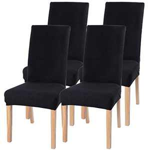 Stretch Dining Chair Slipcovers, Removable Chair Slipcovers Washable Chair Covers for Home Hotel Dining Room Ceremony Banquet Wedding Party Restaurant 4 Pack Black B