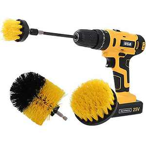 Drill Brush Power Scrubber Drill Brush Attachment 4 Set with Extend Long Attachment Suitable for Clean for Grout, Tiles, Sinks, Bathtub, Bathroom, Kitchen & Auto(Yellow)