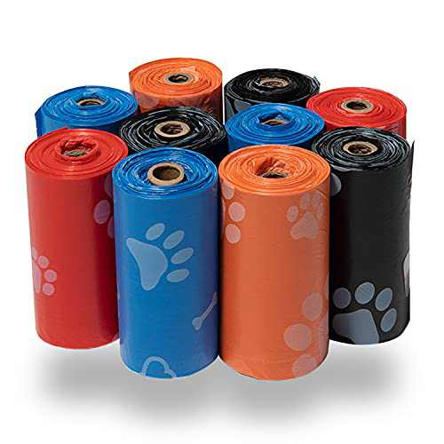 Best Pet Supplies Dog Poop Bags for Waste Refuse Cleanup, Doggy Roll Replacements for Outdoor Puppy Walking and Travel, Leak Proof and Tear Resistant, Thick Plastic - Mixed Colors, 150 Bags