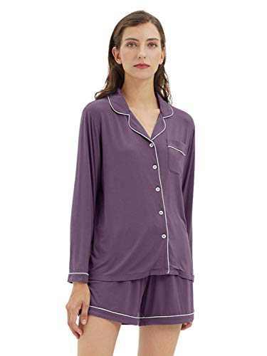 SIORO Womens Modal Cotton Pajamas Set Sleepwear Loungewear Button Down Pijamas Long Sleeve Sets, Largeight Purple, Large