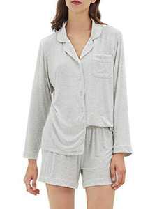 SIORO Women's Pajamas Long Sleeve Top Short Pants 2 Piece Plus Size Sleepwear Soft Pj Set, Heather Grey, X-Large