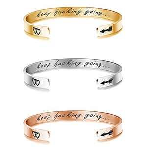 Sllaiss Stainless Steel Cuff Bangle Bracelets Engraved Inspirational Relationship Friendship Graduation Birthday Gifts Bracelets for Women Men with Hidden Message Keep Going Bracelets Set of 3