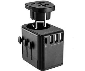 Upgraded International Travel Adapter, allcaca Universal Power Adapter All-in-one Worldwide Travel Charger Socket with 3 USB Ports PD and QC3.0 port Travel Plug Adapter for EU/UK/AU/US/JPN/CN/HK Black