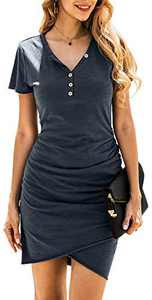 BTFBM Women's 2021 Casual V Neck Short Sleeve Ruched Bodycon T Shirt Short Mini Dresses with Faux Button (Dark Grey, Small)