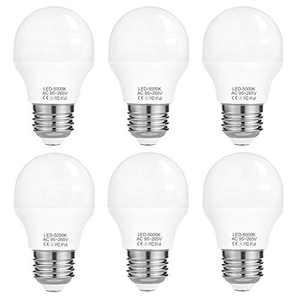 A15 Bulb Daylight, 4W E26 LED Bulb(40W Light Bulbs Equivalent), Refrigerator Light, Non-Dimmable 5000K, 120V 430LM, 6 Pack