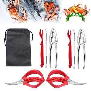 9Pcs Seafood Tools Set Crab Lobster Crackers Stainless Steel Forks Opener Shellfish Lobster Crab Leg Sheller Nut Crackers
