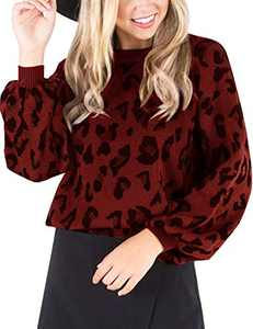 MEROKEETY Women's Crew Neck Leopard Print Balloon Sleeve Knitted Pullover Sweater Tops Red