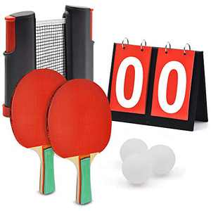 Marsrizon Professional Ping Pong Paddle Set with Scoreboard Retractable Net Balls Posts and Gift Box