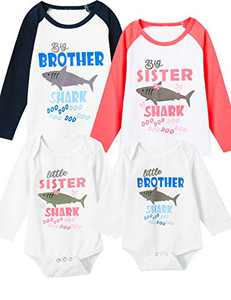 Aslaylme Little Boys Matching Outfits Big Brother Shark Doo Doo Long Sleeve T-Shirts (Blue-BigBrother Longsleeve,18-24 Months)