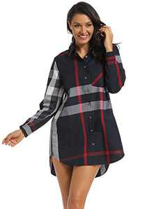 Acloth Women's Boyfriend Shirts Plaid Dresses Roll-up Long Sleeve Blouses Casual Business Loose Fit Button up Shirts Tops with Side Pockets (Blue Grey, Large)
