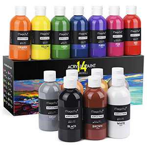 Magicfly Bulk Acrylic Paint Set, 14 Rich Pigments Colors (240 ml/8.12 fl oz.), Non-Fading, Non-Toxic Craft Paints for Painting on Canvas, Ideal for Kids, Artist & Hobby Painters