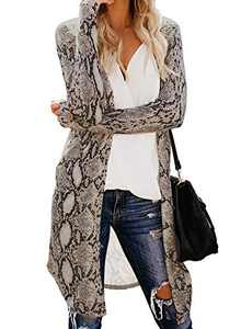 Elapsy Womens Fashion 2020 Knit Open Front Long Sleeve Pocket Charmer Snake Print Cardigan Loose Knited Sweater Small