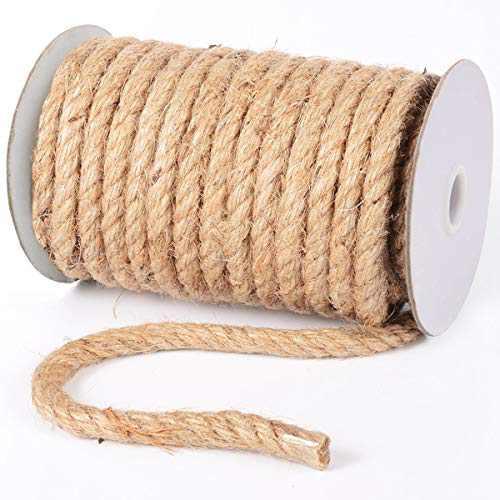 Jute Rope 10mm 50 Feet Natural Jute Burlap Twine String Hessian Rope Cord Craft for Packaging, Crafts, Decoration, Bundling, Gardening, Cat Tree