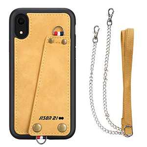 JISON21 iPhone XR case with Lanyard,iPhone XR Case Crossbody Chain with Credit Card Holder Slot Adjustable Detachable Strap Leather Case for Apple iPhone XR 6.1 inch 2018 … (Yellow)