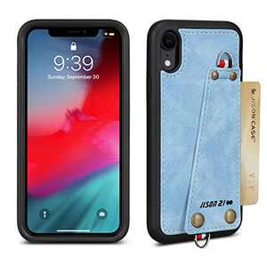 JISON21 iPhone XR case with Lanyard,iPhone XR Case Crossbody Chain with Credit Card Holder Slot Adjustable Detachable Strap Leather Case for Apple iPhone XR 6.1 inch 2018 … (Blue)