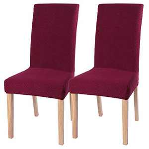 Stretch Dinging Chair Slipcovers, Removable Chair Slipcovers Washable Chair Covers for Home Hotel Dining Room Ceremony Banquet Wedding Party Restaurant 2 Pack Wine Red B