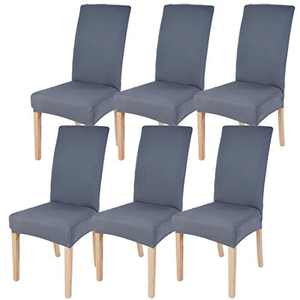 Dining Chairs Cover Removable Washable Chair Covers Protector for Home Hotel Dining Room Ceremony Banquet Wedding Party Restaurant High Back Chair Slipcovers Set 6 Pack Grey