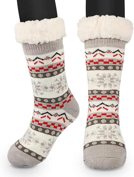 Non-Slip Socks, Winter Slippers Socks, Women's Non-Skid Knitted Fleece Lined Warm Slipper Socks, Thick House Socks, Plush Inner Socks Gift, One Size Fits All